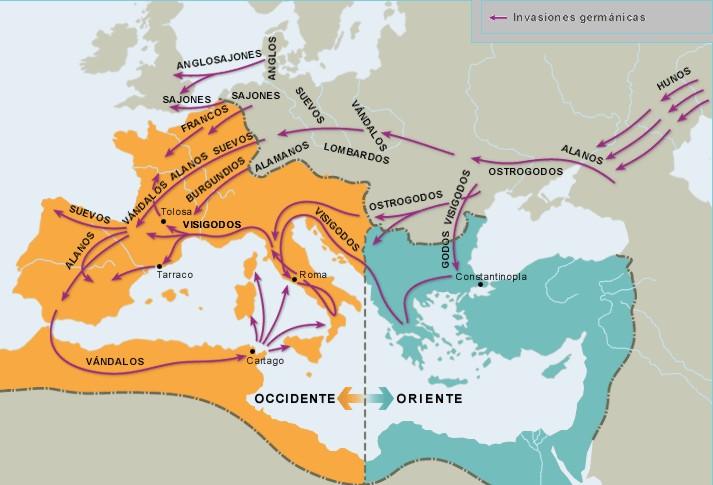 Resultado de imagen de mapa de la división del imperio romano y pueblos germanos
