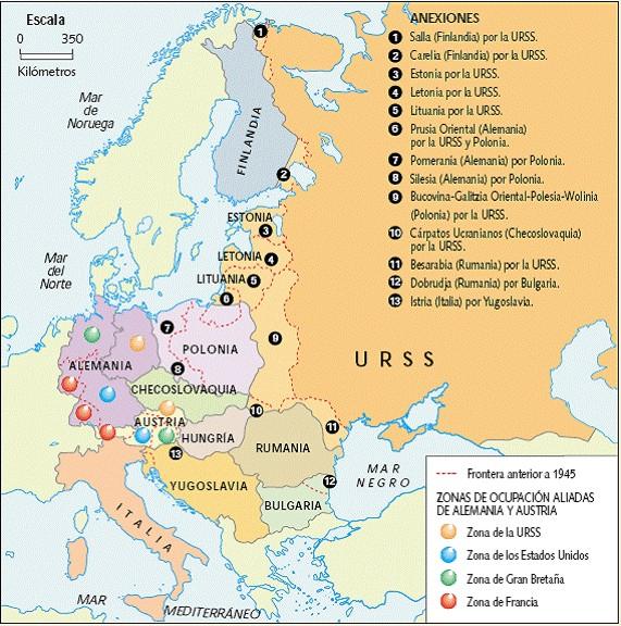 Caída y desaparición de la URSS y el bloque del Este. Hecho$ significativos hacia Rusia en el presente. [HistoriaC] SigloxxMapa004